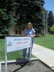 The University of Wyoming All-America Display Garden is just west of Old Main on campus in Laramie. Karen at the site, June 19, 2013.